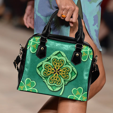 Irish Shamrock Shoulder Handbag - Green Color - For Woman 2