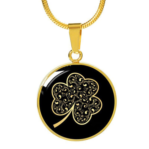 Image of Ireland Shamrock Glowing Circle ( Necklace And Bangle) X1 Luxury Necklace (Gold) Jewelries