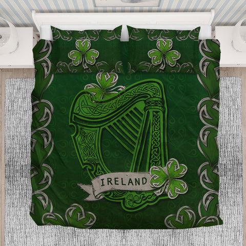 Irish Harp With Shamrock Bedding Set - Dark Green Color 2