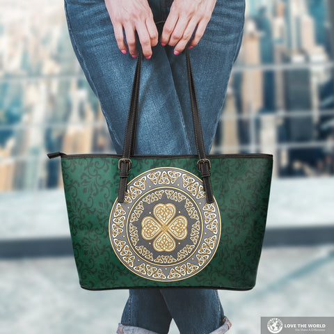 Ireland Large Leather Tote Bag Celtic Four Leaf Clover  TH76 1ST