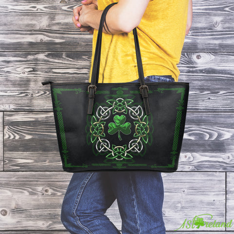 Shamrock Mixing Celtic Circle Leather Tote Bag