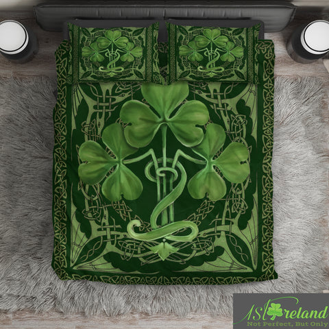 Irish Shamrock Bedding Set, Celtic Knot Duvet Cover And Pillow Case TH7
