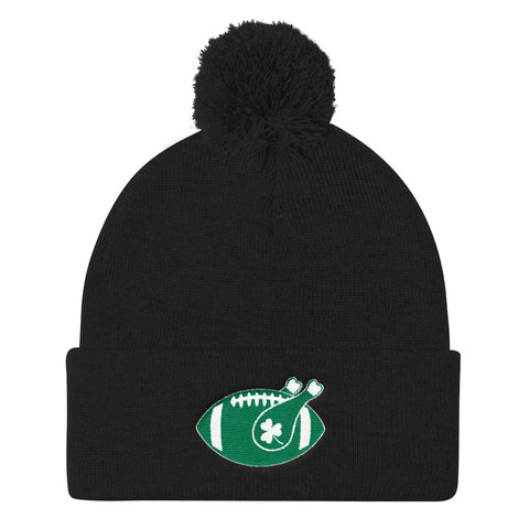 Shamrock Turkey and Football on Thanksgiving Pom Pom Knit Cap, cap