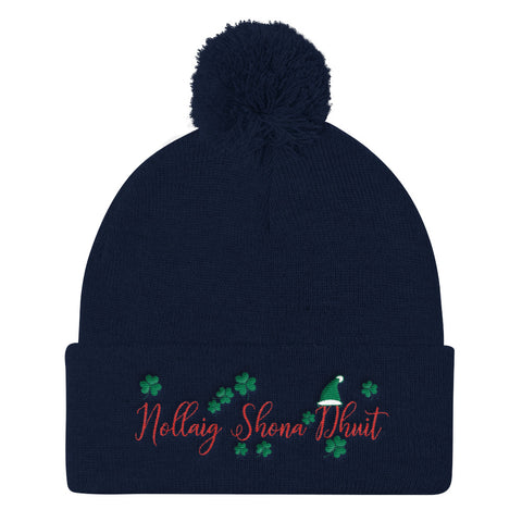 Nollaig Shona Dhuit (Merry Christmas) Pom Pom Knit Cap