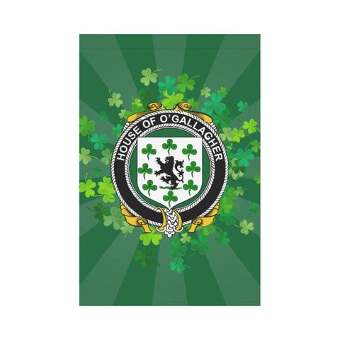 Irish Garden Flag, O'Gallagher Family Crest Shamrock Yard Flag