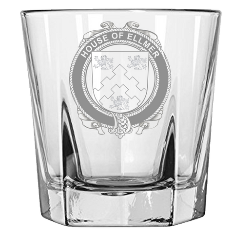 Irish Rock Glass, Ellmer Family Crest Wine Glass