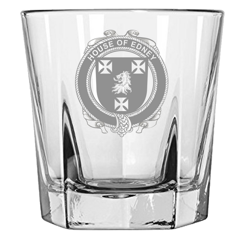 Irish Rock Glass, Edney Family Crest Wine Glass