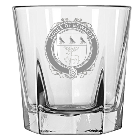 Irish Rock Glass, Edwards Family Crest Wine Glass
