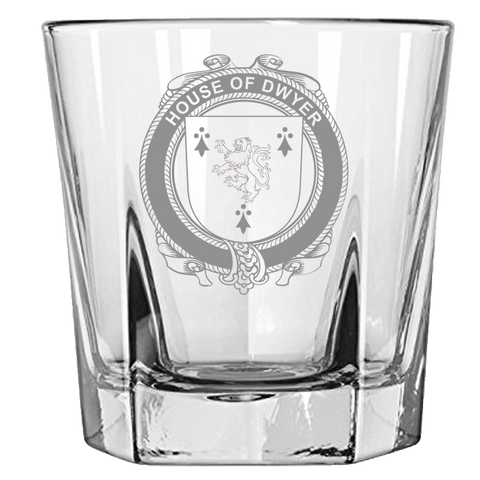 Irish Rock Glass, Dwyer or O'Dwyer Family Crest Wine Glass