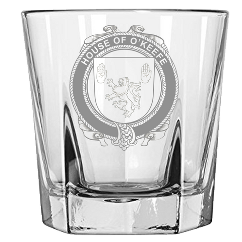 Irish Rock Glass, Keefe or O'Keefe Family Crest Wine Glass