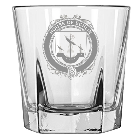 Irish Rock Glass, Echlin Family Crest Wine Glass