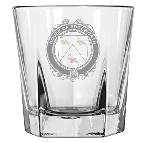Irish Rock Glass, Edgeworth Family Crest Wine Glass