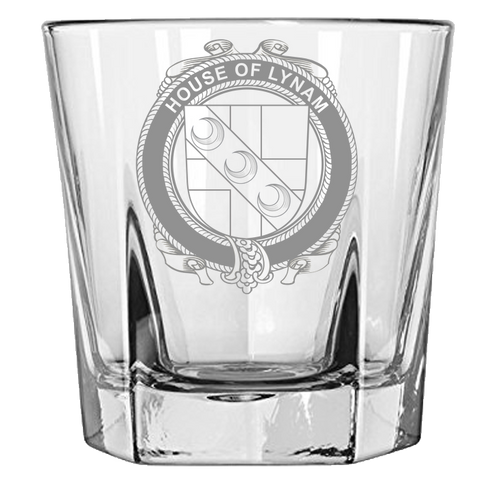 Irish Rock Glass, Lynam or O'Lynam Family Crest Wine Glass
