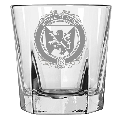 Irish Rock Glass, Paine Family Crest Wine Glass