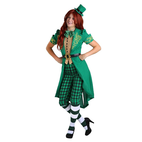 Adult Women's Spirited Charming Irish Lucky Fairy Leprechaun Costume Prefect Green St. Patrick Day Outfit