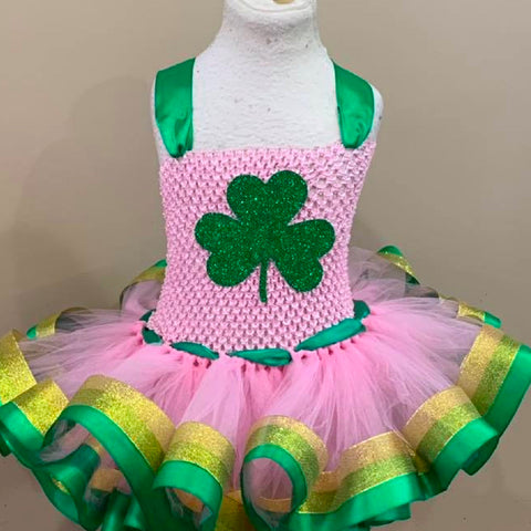Shamrock Tutu, Shamrock Dress, Shamrock Pageant Dress, Shamrock Pageant Tutu, Pink And Gold Tutu, Pink And Gold Dress, Pink And Green Tutu Th7