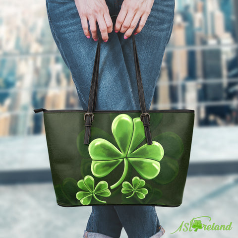 Vintage Shamrock Small Leather Tote Bag Premium