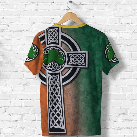 Irish Celtic Cross Shamrock T Shirt - Celtic Nations K4