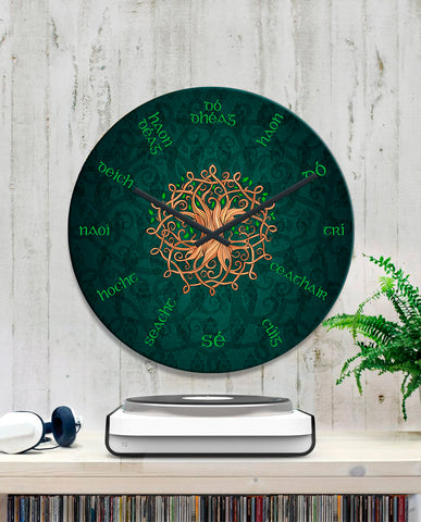 Image of Celtic Language Wall Clock - Tree of Life Ireland TH60
