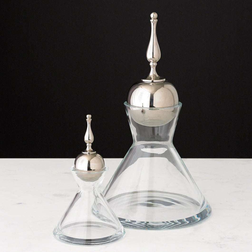Finial Decanter - Nickle and Glass