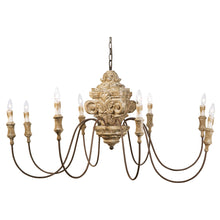 Load image into Gallery viewer, Wood Carved Chandelier