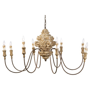 Wood Carved Chandelier