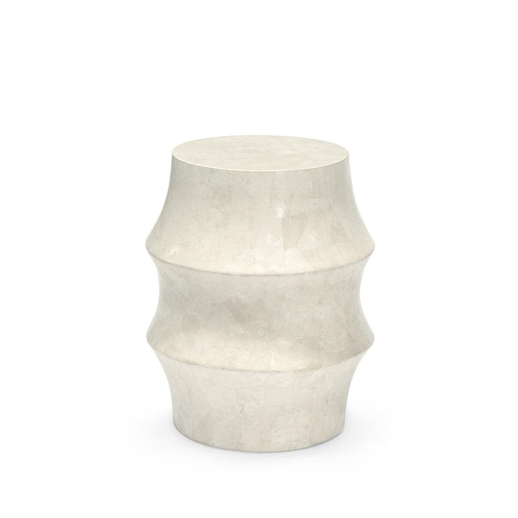 Nali Stone Outdoor Stool, White by Palecek