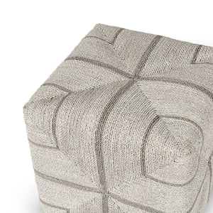 Fritz Rope Square Ottoman, Fog White by Palecek