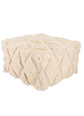 Ultra Textured Ivory Pouf