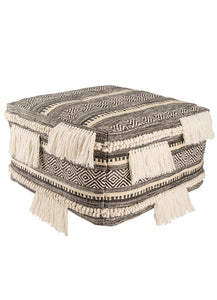 Ultra Textured Fringed Pouf
