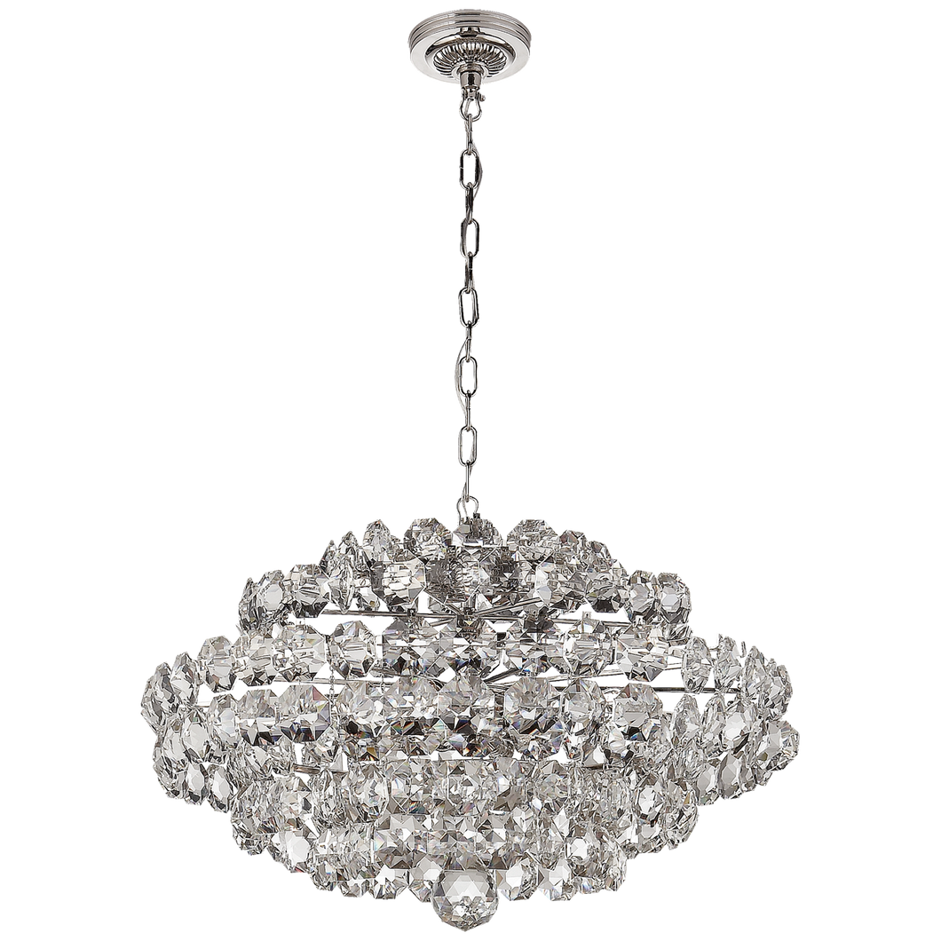 Sanger Small Chandelier in Polished Nickel with Crystal by Visual Comfort