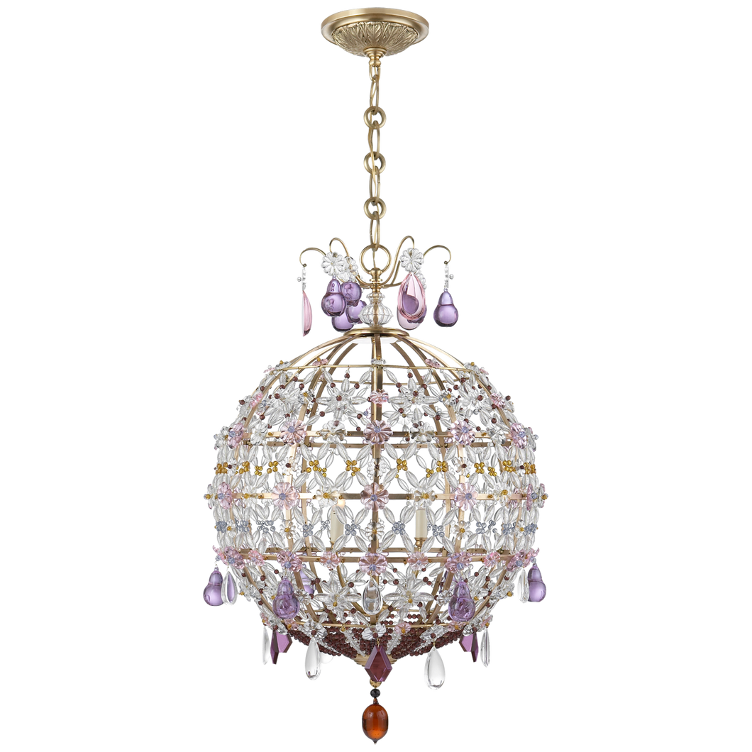 Heather Chandelier in Hand-Rubbed Antique Brass with Clear, Amber, and Amethyst Glass