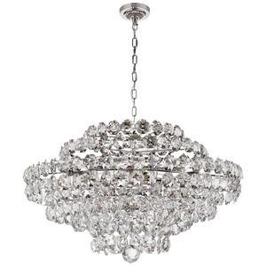 Sanger Large Chandelier in Polished Nickel with Crystal by Visual Comfort