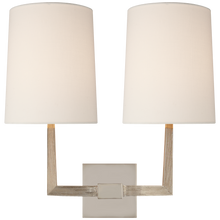 Load image into Gallery viewer, Ojai Large Double Sconce with Linen Shade by Barbara Barry