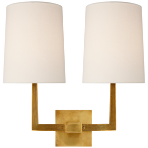 Ojai Large Double Sconce with Linen Shade by Barbara Barry