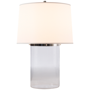 Simple Cylinder Table Lamp in Clear Glass with Silk Shade