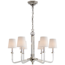 Load image into Gallery viewer, Bennett Six Arm Chandelier in Crystal and Polished Nickel with Natural Percale Shades by Visual Comfort