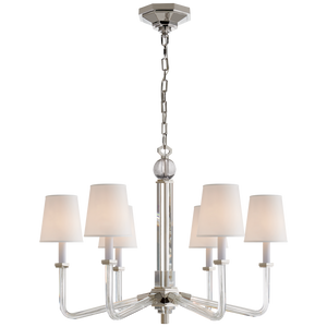 Bennett Six Arm Chandelier in Crystal and Polished Nickel with Natural Percale Shades by Visual Comfort