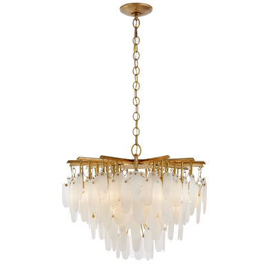 Cora Small Waterfall Chandelier in Antique-Burnished Brass with Alabaster by Chapman & Meyers