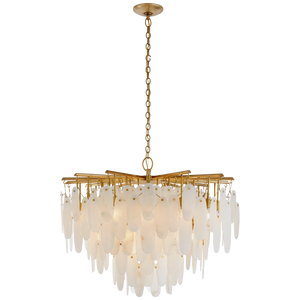 Cora Medium Waterfall Chandelier in Antique-Burnished Brass with Alabaster by Chapman & Meyers