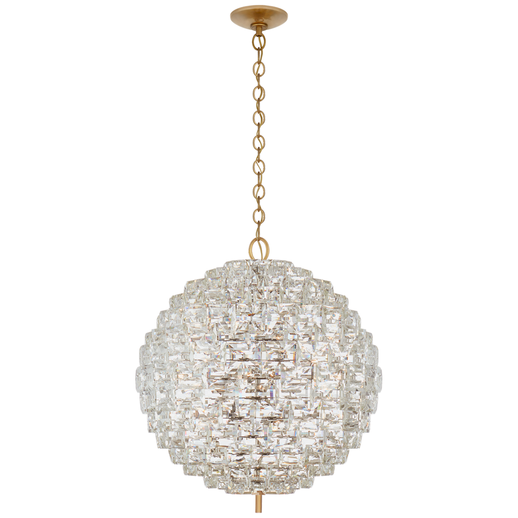 Karina Grande Sphere Chandelier in Antique-Burnished Brass and Crystal By Visual Comfort
