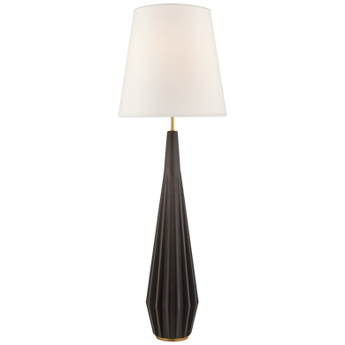 Cachet Floor Lamp in Aged Iron with Linen Shade by Visual Comfort