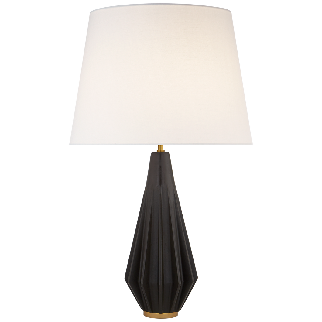 Cachet Table Lamp in Aged Iron with Linen Shade by Visual Comfort