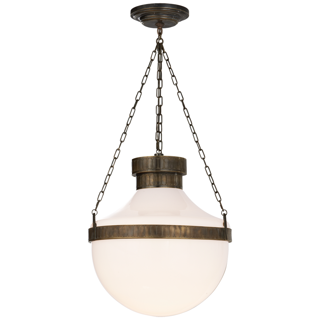 Modern Schoolhouse Lantern in Antique Brass Verdigris with White Glass