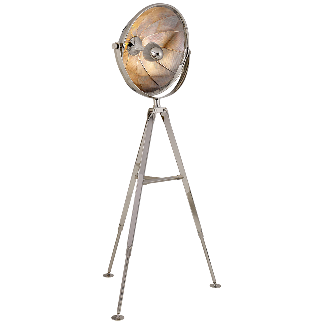 Ames Extra Large Pivoting Reflector Floor Light in Polished Nickel by Ralph Lauren