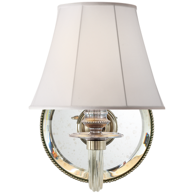Aymeline Single Sconce in Butler's Silver with Silk Shade by Ralph Lauren