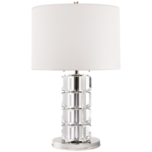 Brookings Large Table Lamp in Crystal and Polished Nickel with White Paper Shade by Visual Comfort
