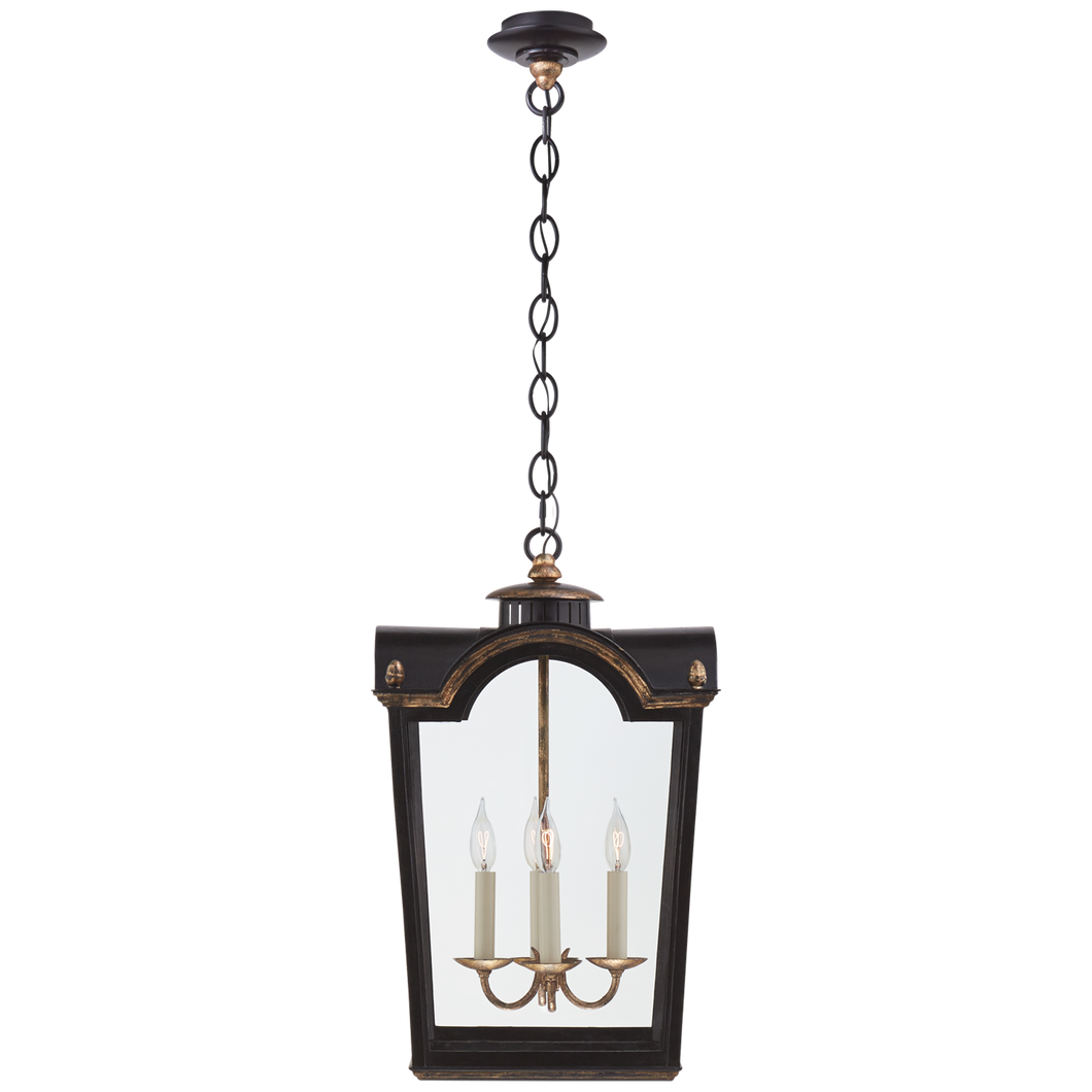 Brinkley Small Lantern in Old Black Tole with Clear Glass by Visual Comfort