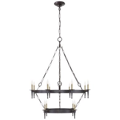 Branson Medium Two-Tiered Ring Torch Chandelier in Aged Iron by Visual Comfort