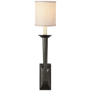 French Deco Horn Sconce with Linen Shade by Studio VC